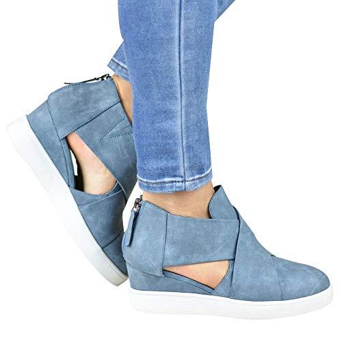 ABsoar Freizeitschuhe Damen Erhöhte Stiefeletten Single Schuhe Wohnung mit Reißverschluss Stiefel Peeling Passenden Mode Frauen Schuhe Sandalen