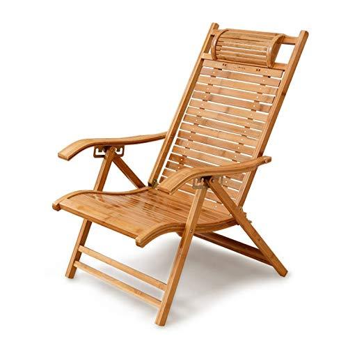 Back-stil Barhocker (JpOTSUT Chinesischen Stil Bambus Stuhl, Lazy Lounge Chair, Mittagspause Büro Lazy Chair, Nickerchen Klappstuhl, Home Single Beach Leisure Back Chair (Size : Without Cushion))