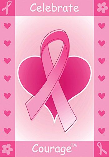Toland Home Garden Celebrate Courage Deko-Schleife für Brustkrebs-Herz, 71,1 x 101,6 cm, Rosa