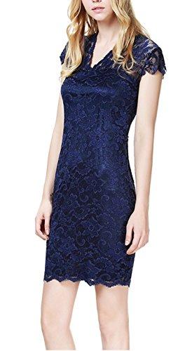 Damen Kleid LOBTY Sommer Kurz Etuikleid Spitzekleid Sommerkleid Minikleid Abendkleid Cocktailkleid Partykleid Spitze Eng Tief V-Ausschnitt Kurzarm Knielang Elegant Festlich Party Hochzeit Blau