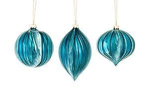 Lot de 6 boules en verre bleu marine côtelé, oignon et Boule de Noël 15 cm
