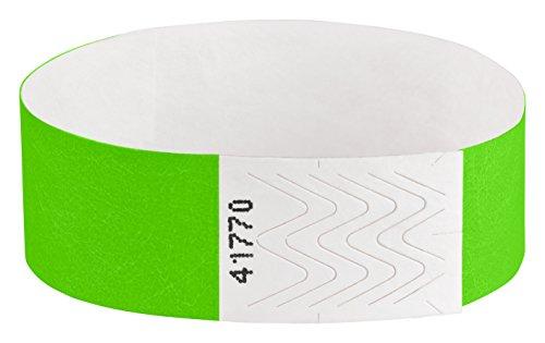 Tyvek Eintrittsbänder, Einlassbänder, Kontrollbänder, Festivalbänder, Securebänder, Kontrollarmbänder, Größe:1000 Stück, Farbe:grün (Tyvek-armbänder 1000)