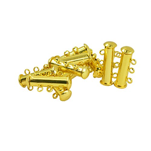 Segolike 10 Pieces Multi 3 Strand Slide Lock Magnetic Tube Brass Clasps Connectors for Necklace Bracelet Jewelry Findings DIY Making - gold, 21 x 10 x 6mm  available at amazon for Rs.455