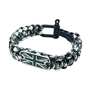 Union Jack Flag Paracord Survival Bracelet High Tensile Cobra Weave With Adjustable Bow Shackle By aarrows & Co (White Camo)
