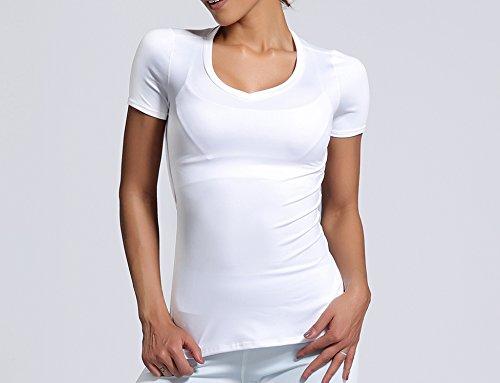 ACVIP Femme T-shirt Elastique avec Fendu Blanche Blouse Manche Courte Sport Yoka Confort Blanc