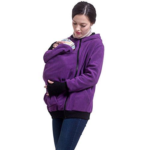 M&M Mymoon Damen Tragejacke Baby 3 in 1 Kapuzenpullover Tragetuch Beide Reißverschluss Sweatshirt Langarm Warm Tragepullover (Lila, 40/42)