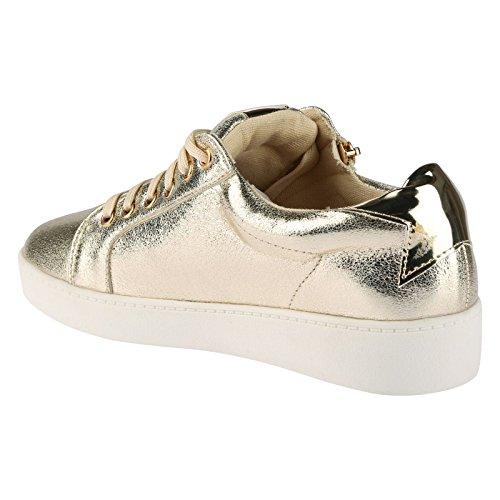 ByPublicDemand Joanna Femme Talons bas Lacer chaussure de tennis Or