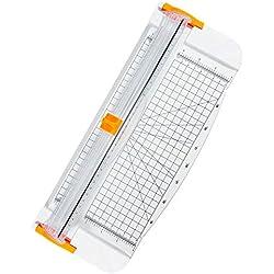 Jevogh Massicot Rogneuse Coupe-papiers tapis de coupe Bureau avec Lame Sécuritaire Coulissante pour découpe de Papier Standard Photos étiquettes Blanc