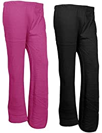 IndiWeaves Womens Warm Woolen Full Length Palazo Pants For Winters_Free Size_Pink/Black