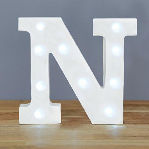 Smiling Faces UILJ - Letra N decorativa con luz LED (madera)