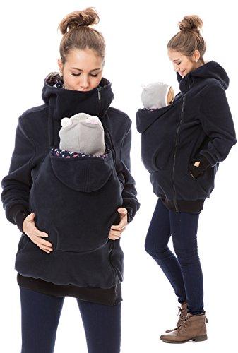 GoFuture Damen Tragejacke für Mama und Baby Känguru Klassiker VIVA GF2301 Marine mit Pilzen