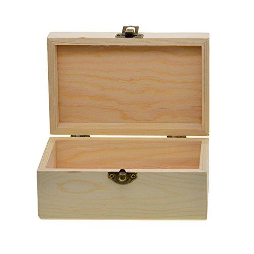 D DOLITY Unvollendete Rechteckig Form Holzkiste mit Deckel für Schmuck Schmuckkasten Holzkästchen Schmuckkästchen Holzschatulle Holzbox