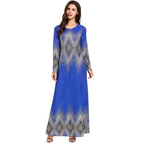 Andouy Abaya Muslimische Dubai Robe Elegant Blumendruck Stricken Kimono Hochzeit Party Langes Kleid(XL(40).Blau) -