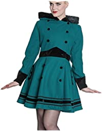 Hell Bunny 50s Vintage Rockabilly Winter Coat Mikaela Teal Blue/Green All Sizes