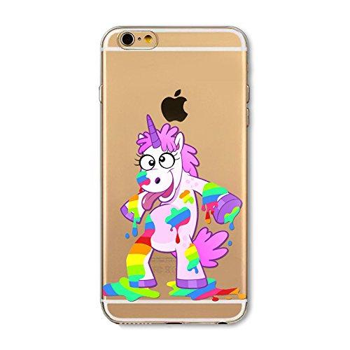 Coque Apple Iphone 6 et 6S en Gel silicone souple transparente Licorne vomit arc en ciel IP 6 licorne multi tache