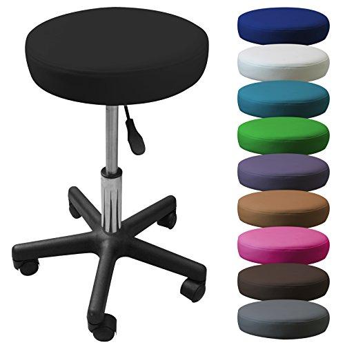 Vivezen  Tabouret rond à roulette réglable en hauteur de 45 à 62 cm et pivotable à 360° - 10 coloris - Norme NF EN 1023