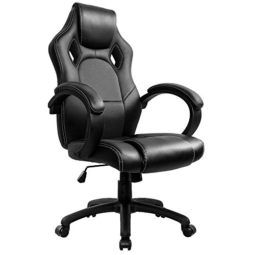 Gaming Stuhl Chair, Hoch Rücken Ergonomischer PU Leder Bürostuhl Racing Sportsitz Gaming Drehstuhl Computer Schreibtisch Sportsitz Gaming schreibtischstuhl Büro Chefsessel Kunstleder (Schwarz)