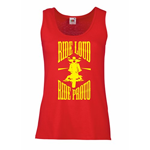 Serbatoio,Maglietta Senza Maniche Femminile Ride Loud! (XX-Large Rosso Multicolore)