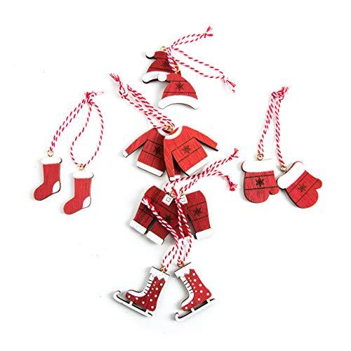 12 rot weiß Weihnachtsanhänger SANTA WEIHNACHTSMANN NIKOLAUS (4-5 -