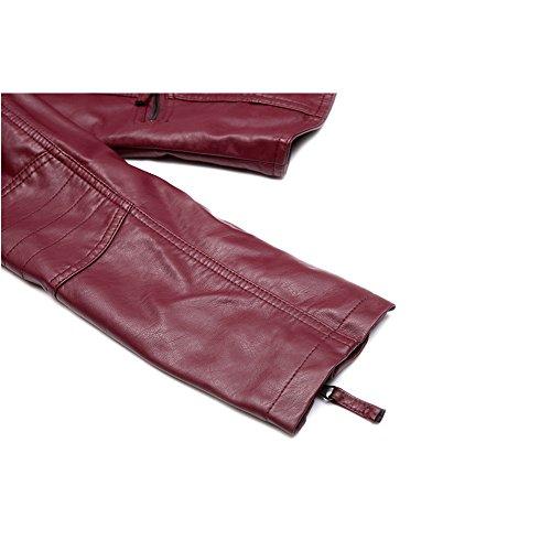 Kunstleder Damen Jacke Faux Leather Biker Jacken, Frauen PU Motorradjacke kurz Mantel für Herbst Winter Rot