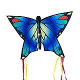 CIM Cerf-Volant Papillon - Butterfly Blue - Cerf-Volant monofil pour Enfants à partir de 3 Ans - 58x40cm - avec Ligne de 20m - avec queues courbées de 195cm