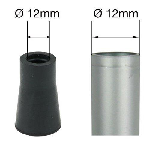 Lifeswonderful Leki Style Rubber Ferrule for Trekking or Hiking Stick 4-Pieces, 12 mm Diameter, Black, (Pack of 1)
