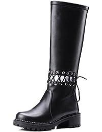 TAOFFEN Damen Mode-Event hohen Absätzen Stiefeletten Blockabsatz Reißverschluss Schnalle Elegant über kniehohe Stiefel (34 EU, Schwarz)