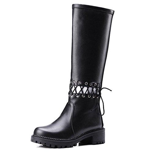 Taoffen Ankle Boots Lacing Plana Fashion-evento Das Mulheres Zipper Salto Alto Sobre Botas De Cano Alto Pretas
