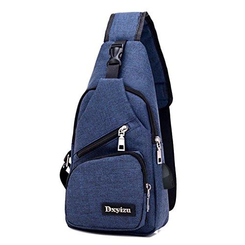 Sling borsa a tracolla, USB Outdoor Sport Casual Canvas sbilanciare zaino crossbody Sling borsa a tracolla by Kangrunmy® Blu