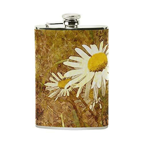 Orediy Flachmann aus Edelstahl, mit Blumenmuster und Kamillen, 227 ml, tragbar, mit Leder ummantelt -