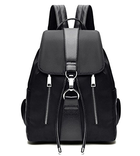 Tibes wasserdichten Rucksack-Mode Nylon netten Rucksack für Mädchen Damen Kordelzug Daypack Schwarz (Nylon-drawstring-rucksack)