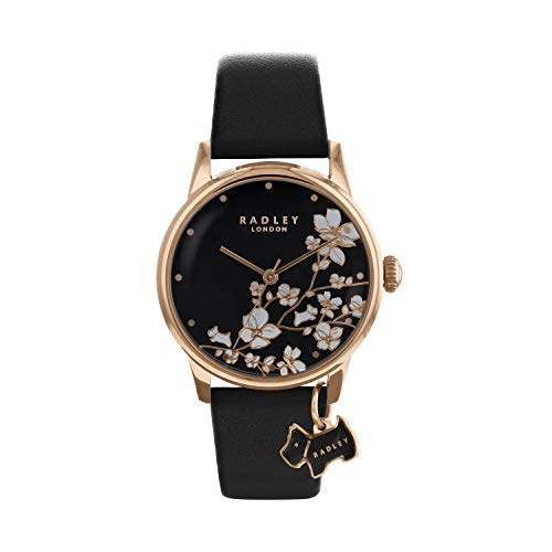 Radley Ladies Trailing Flower Black Leather Strap Watch RY2734 Best Price and Cheapest