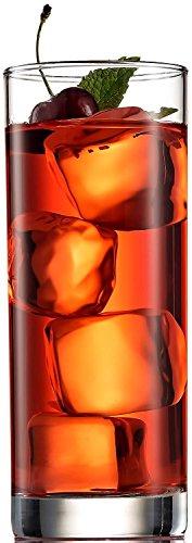 Paksh novità italiano bicchieri highball [set di 6] clear heavy base alta da bar in vetro-bicchieri per acqua, succo, birra, vino, e cocktails | 368,5gram
