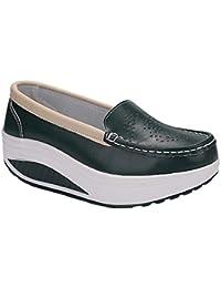 Daytwork Mocasines Plataforma Informal Conducción - Mujer Slip-On Zapatillas de Deporte Cuero Casual Cuña
