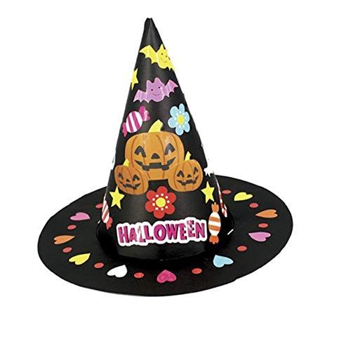 Isuper Halloween Hut Kinder handgemachte Halloween DIY Hexe Hüte Kostüm Zubehör für Halloween Karneval (Diy Hexen Kostüm)