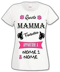 Idea Regalo - L'Arcobaleno di Luci T-Shirt Donna Muso Questa Mamma Fantastica appartiene a + Nomi Figli - by (M, Bianco)
