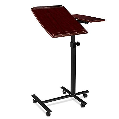 Homfa Mesa para Ordenador Portatil con Ruedas Mesa Auxiliar Regulable en Altura para Cama Color Marrón 60*50*(73-97)cm
