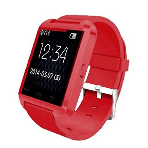 Kolylong U8 1.5 inch Bildschirm Smart-Armbanduhr TFT LCD U8 Bluetooth 4.0 for Android Handy (Rote) müssen Aufladen vor dem Gebrauch -
