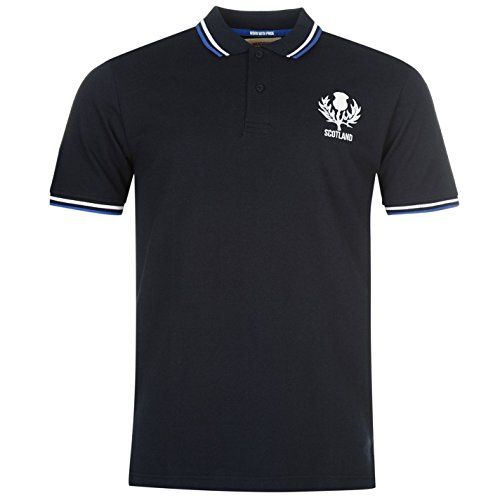 Team Rugby Core Herren Polo Shirt Freizeit Polohemd Kurzarm Logo Verschiedene Farben Schottland