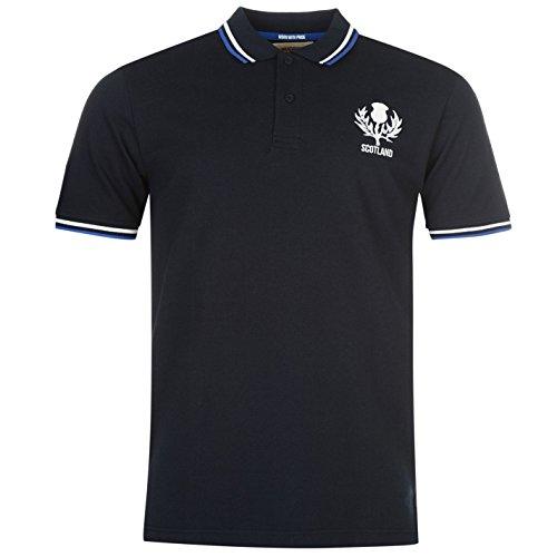 Team Rugby Core Herren Polo Shirt Freizeit Polohemd Kurzarm Logo Verschiedene Farben Schottland Extra Lge (Braune Langarm-polo-shirt)