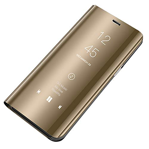 Bakicey Galaxy S7 Hülle, Galaxy S7 Edge Handyhülle Spiegel Schutzhülle Flip Tasche Leder Case Cover für Samsung S7, Stand Feature handyhuelle etui Bumper Hülle für Samsung S7 Edge (S7 Edge, Gold) -