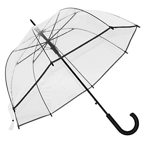 Baciami Transparenter Damen Regenschirm - Automatik Glockenschirm mit AUF-Automatik, ⌀ 90cm, 350g, Schwarz