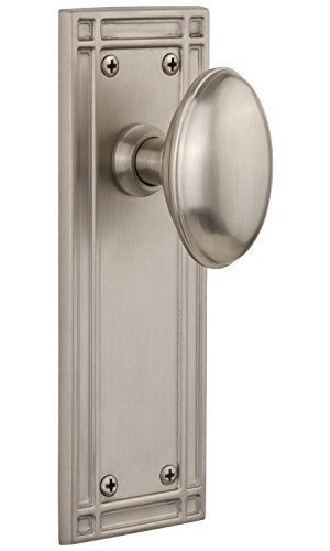 Nostalgic Warehouse Mission Plate with Homestead Knob Complete Passage Set, Satin Nickel by Nostalgic Warehouse - Nickel Passage Sets