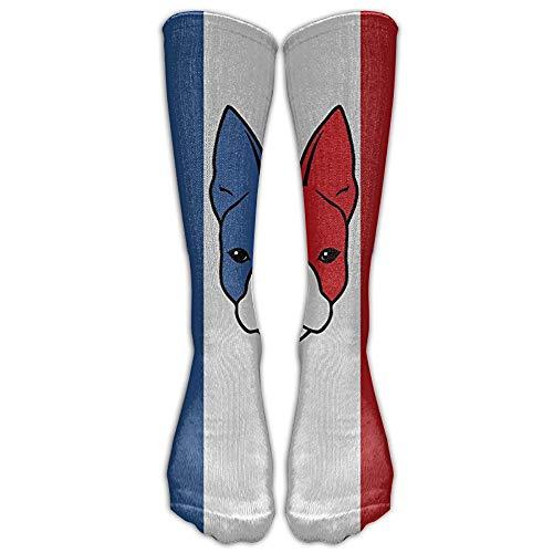 khgkhgfkgfk Französische Bulldogge Flagge kniehohe Socken lange Sport Tube Strümpfe für Männer & Frauen alle Sport Holiday One Size 19,68 Zoll -