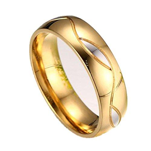 FEITONG Verlobungsringe Edelstein für Damen und Herren, Titan Stahl Ringe Strass Ringe Edelstahl Schmuck Eheringe (#10, Herren) (Zwei-ton-herren-ehering)