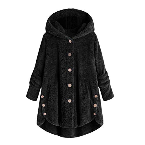 Plüschmantel Damen Große Größe,Rovinci Frauen Fleecemantel Lose Warme Button Down Mantel Einfarbig Plüschjacke Casual Kapuzenpullover Winterjacken Teddy-Fleece Langarm Oversize Sweatjacke Outwear