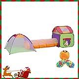 MC Star 3-Teiliges Spielzelt Kinderzelt Mit Krabbeltunnel 200 Bällen Tasche Für Drinnen Draußen Garten,Pop Up Kinderspielzelt Zimmerzelt Mit Bällebad Spielhaus,Mehrfarbig