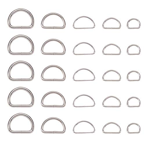 PandaHall Elite 140 Pcs Iron Rings D, Buckle Clasps, Belts, Strapping Bags, Garment Accessories, Platinum