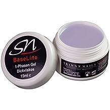 SN-Nageldesign 1 Phasen Gel 15 ml dickviskos, Nagelgel für Gelnägel, 3 in 1 UV-Gel mit UV-Protektor, All in One Sculpting Einphasengel mit Honigeffekt und Glanz-Gel klar