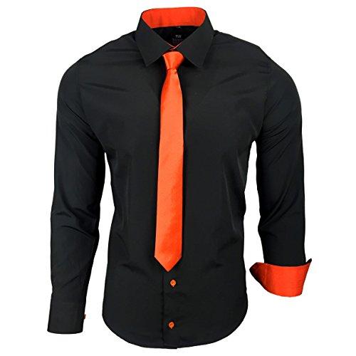 Camisa de la marca Rusty Neal R-44-KR, con corbata. Ideal para negocios, bodas y tiempo libre. Ajustada negro / naranja